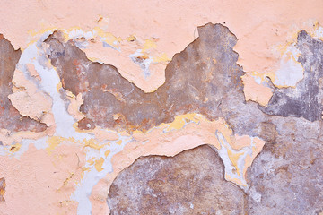 fragment of the wall with old paint
