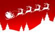 Christmas Sleigh 4 Reindeers Balls Santa Red