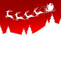 Christmas Sleigh 4 Reindeers Santa Red