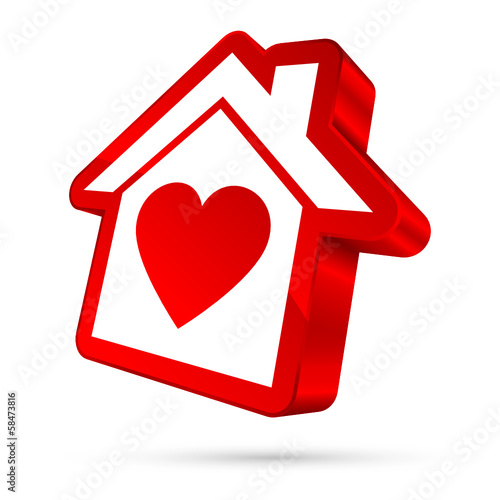 House Icon Heart 3D Red