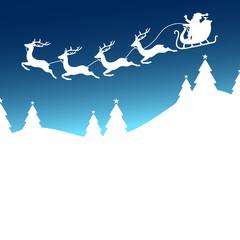 Christmas Sleigh 4 Reindeers Santa Blue