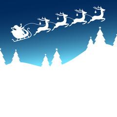 Christmas Sleigh 4 Reindeers Balls Santa Blue