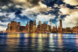 Manhattan by night with beautiful sky