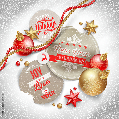 Labels with Christmas greeting and holiday decor on a snow