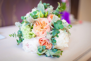 wedding bouquet lying on a table