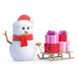 Santa Snowman has a sled full of gifts