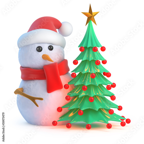 Santa Snowman with Christmas tree