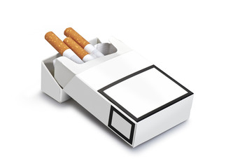 Pack of cigarettes isolated  ( clipping path )