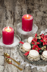 Christmas decoration with candles blurred background