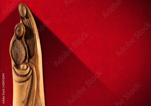 Christmas Nativity Scene on Red Wall
