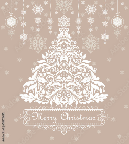 Vintage pastel greeting card with xmas tree.