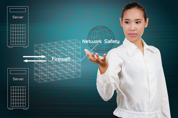 Businesswoman show simple diagram concept of security on the Int