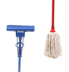 Closeup of red and blue mop for cleaning.