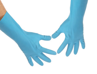 Two hands in latex gloves.