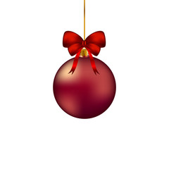 Красный новогодний шар с бантом