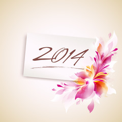 2014 vector template with abstract blossom