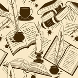 Seamless pattern of writting attributes and books