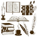 Set of isolated book icons