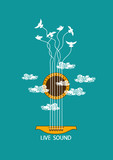 Fototapety Musical illustration with concept guitar