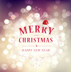 Merry christmas & Happy new year greetings, vector