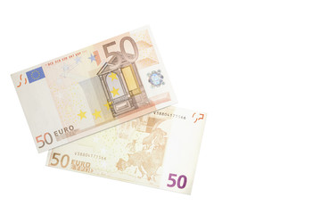 A fifty euros bank note seen from both sides