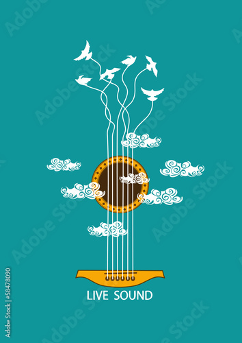 Musical illustration with concept guitar - 58478090