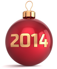 Christmas ball New 2014 Year bauble decoration red gold