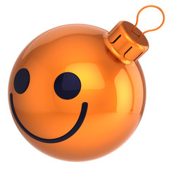 Smiley Christmas ball orange Happy New Year bauble