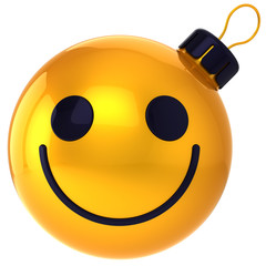 Christmas ball smiley face gold Happy New Year bauble smile face