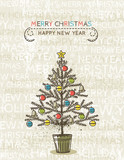 Fototapety beige background with christmas tree, vector