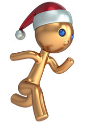 Running man stylized Santa character gold quickly runner person