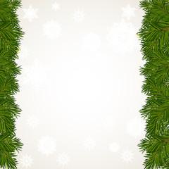 Новогодний фон с елочными веточками и снежинками
