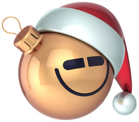 Smiling face Christmas ball gold Happy New Year bauble