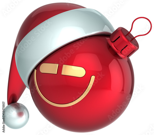 Smiley Christmas ball red New Year Santa hat bauble smile face