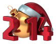 Happy New Year 2014 Santa hat Merry Christmas ball decoration