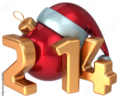 New Year 2014 Santa hat Christmas ball decoration Merry Xmas