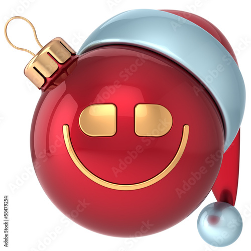Smiling Christmas ball smile Happy New Year bauble smiley face