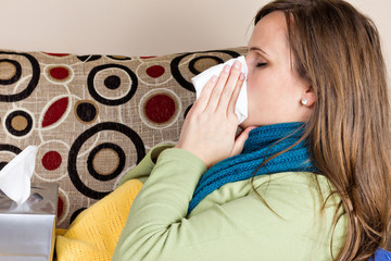Young woman at home having flu
