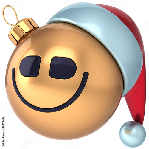 Christmas ball smile Happy New Year smiling bauble Santa face