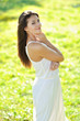 Young beautiful model girl posing outdoors