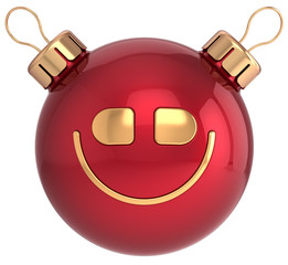 Christmas ball smile face New Year bauble smiley icon