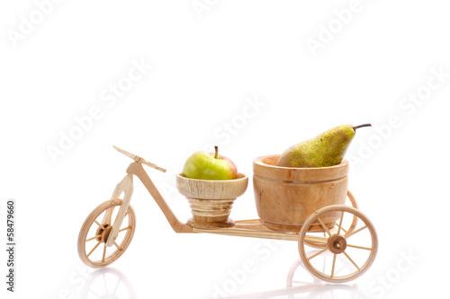 fresh apple and pear in a bike