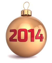 New 2014 Year bauble Christmas ball decoration gold red