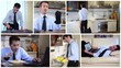 unmarried businessman at home, collage
