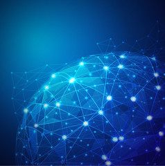Global digital mesh network, vector illustration
