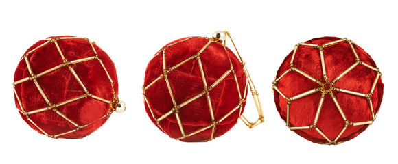 Red christmas decoration balls isolated