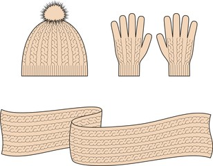 Vector illustration of winter cap, scarf, gloves