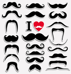 Moustaches set. Design elements.
