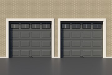 Two gray garage door with windows
