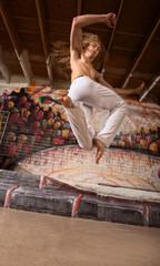 Capoeira Performer Jumping